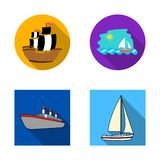 Isolerat objekt av yacht- och skeppsymbolen Samling av yacht- och kryssningmaterielsymbolet för rengöringsduk vektor illustrationer