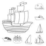 Isolerat objekt av yacht- och skepptecknet Ställ in av yacht- och kryssningvektorsymbolen för materiel stock illustrationer