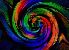 Isolerat på bakgrund för modell för fractal för spiral för prydnad för svart bronskoppar geometrisk abstrakt Effekt för metallspi stock illustrationer