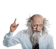 Isolerat på den vita galna oldmanen hade idé Fotografering för Bildbyråer
