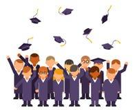 Isolerat på den vita studentfolkmassan för att fira för att jubla flygavläggande av examenhattar gruppera doktorand- högtidliga t royaltyfri illustrationer