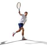 Isolerat på den vita unga mannen spelar tennis Royaltyfria Foton