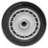 Isolerat på det vita klassiska bilhjulet med den metalliska ekerkanten, skensvartgummihjul, röd skivabroms Ny ren beståndsdel för Arkivfoton