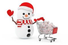 Isolerat på framförd vit background Snögubbe i Santa Claus Hat Driven vid ett S Arkivbild