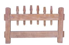 Isolerat på träskruvpress för vit bakgrund Arkivfoto