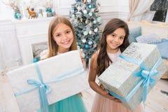 Isolerat på vit bakgrund Gullig flicka för små barn med xmas-gåva lyckliga liten flickasystrar firar vinterferie arkivbild