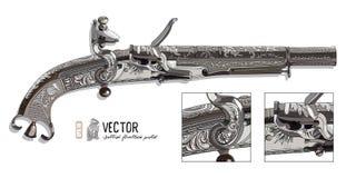 Isolerat på vit bakgrund Skotsk flintlockpistol med snirkeln eller den horn- änden för RAM royaltyfri illustrationer