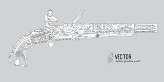 Isolerat på vit bakgrund Skotsk flintlockpistol med snirkeln eller den horn- änden för RAM stock illustrationer