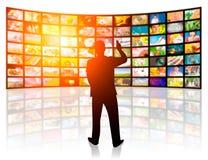 Isolerat på vit bakgrund TVfilmpaneler royaltyfri illustrationer