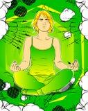 Isolerat på vit Kvinna som gör yoga som mediterar vektor illustrationer