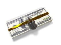 Isolerat på vita dollar för en bakgrundspacke stängde låset, begreppet av de säkra lagringsfonderna, 3d framför Arkivbilder