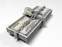 Isolerat på vita dollar för en bakgrundspacke stängde låset, begreppet av de säkra lagringsfonderna, 3d framför Arkivbild