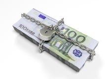 Isolerat på vita dollar för en bakgrundspacke stängde låset, begreppet av de säkra lagringsfonderna, 3d framför Royaltyfri Foto