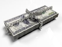 Isolerat på vita dollar för en bakgrundspacke stängde låset, begreppet av de säkra lagringsfonderna, 3d framför Arkivfoton