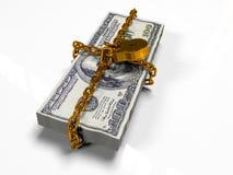 Isolerat på vita dollar för en bakgrundspacke stängde låset, begreppet av de säkra lagringsfonderna, 3d framför Arkivfoto