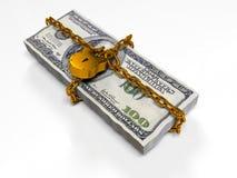 Isolerat på vita dollar för en bakgrundspacke stängde låset, begreppet av de säkra lagringsfonderna, 3d framför Fotografering för Bildbyråer
