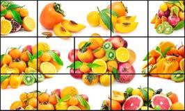 Isolerat på vita frukter och grönsaker i ram Fotografering för Bildbyråer