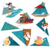 Isolerat på den vita illustrationen med uppsättningen av sommarsemestern avbildar Lycklig flicka och hav, glass, coctail, kall nu Royaltyfri Foto