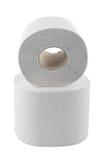 isolerat papper rullar white för toalett två Arkivbild