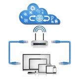 Isolerat pappers- snitt av nätverksdiagrammet i hem från datoren med arkivfoto