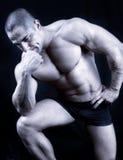 Isolerat perfekt muskulöst posera för man arkivfoton