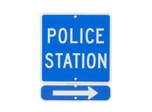 Isolerat polisstationtecken Arkivbilder