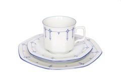 Isolerat porslin för Coffeecup tefatplatta Royaltyfri Fotografi