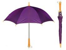 Isolerat purpurt enkelt paraply arkivbild