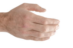 Isolerat räcka att erbjuda en handskakning Royaltyfria Bilder