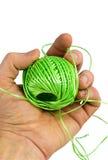 Räcka och göra grön fiber Royaltyfria Foton