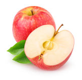 Isolerat rött äpple för snitt royaltyfri fotografi