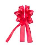 isolerat rött band för bow gåva Royaltyfri Foto