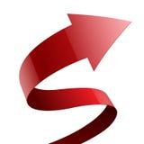 Isolerat rött glansigt tyg buktade på pilbandet stock illustrationer