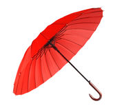 isolerat rött paraply arkivfoto