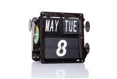 Isolerat retro datum för mekanisk kalender Royaltyfria Foton