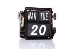 Isolerat retro datum för mekanisk kalender Royaltyfri Fotografi