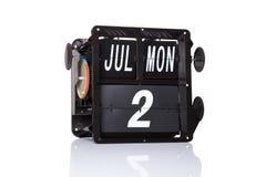 Isolerat retro datum för mekanisk kalender Royaltyfri Bild