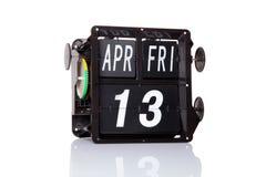 Isolerat retro datum för mekanisk kalender Arkivfoton