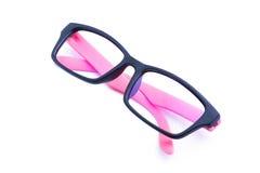 Isolerat rosa glasögon royaltyfria foton