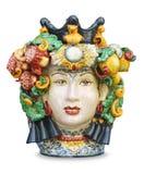 Isolerat Sicilian keramiskt huvud royaltyfria foton
