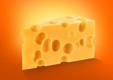 Isolerat stycke av ost, stor bitutklipp royaltyfri fotografi
