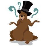 Isolerat tecken för tecknad film för Groundhog dag royaltyfri illustrationer