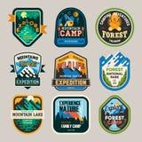 Isolerat tecken, logo för campa klubba, utforskning stock illustrationer