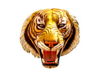 Isolerat tigerhuvud på vit bakgrund Royaltyfria Bilder