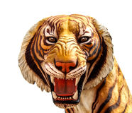 Isolerat tigerhuvud på vit bakgrund Royaltyfri Bild