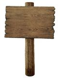 Isolerat tomt gammalt wood vägmärke royaltyfri fotografi