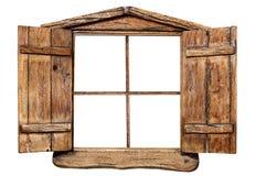 Isolerat träfönster Arkivfoto