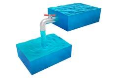Isolerat två kuber av vatten Royaltyfri Bild