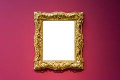Isolerat urklipp för Art Museum Frame Red Wall utsmyckad design vit arkivbilder