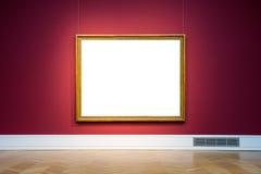 Isolerat urklipp för Art Museum Frame Red Wall utsmyckad design vit arkivfoto